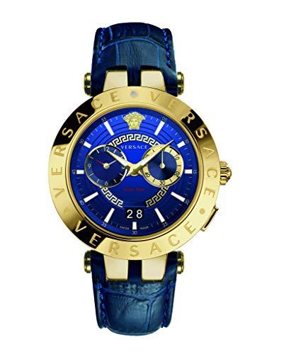 Versace Herren Analog Quarz Uhr mit Leder Armband