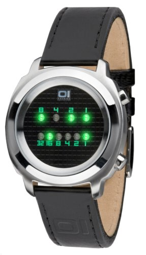 OI THE ONE Herren Digital Quarz Uhr mit Leder Armband Zerone ZE102G1