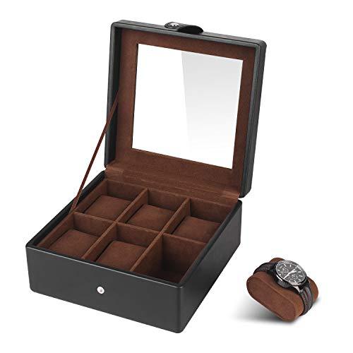 SHYOSUCCE 6 Fächer Uhrenbox mit Transparent Glasdeckel