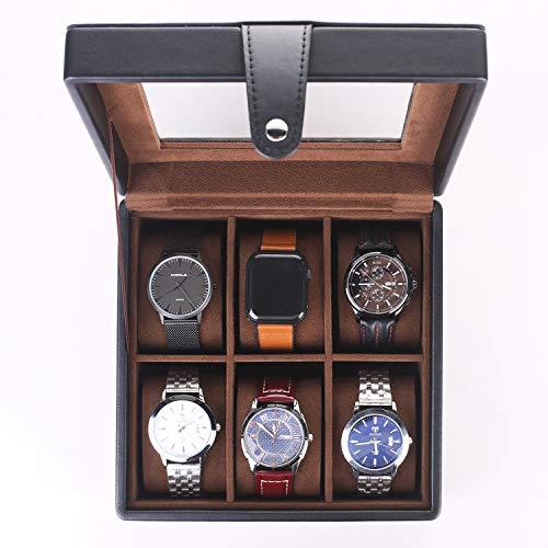 shyosucce-6-faecher-uhrenbox-mit-transparent-glasdeckel-und-abnehmbare-samt-kissen-uhrenkasten-aus-pu-leder-schwarz19-5x19-5x9-5cm-2