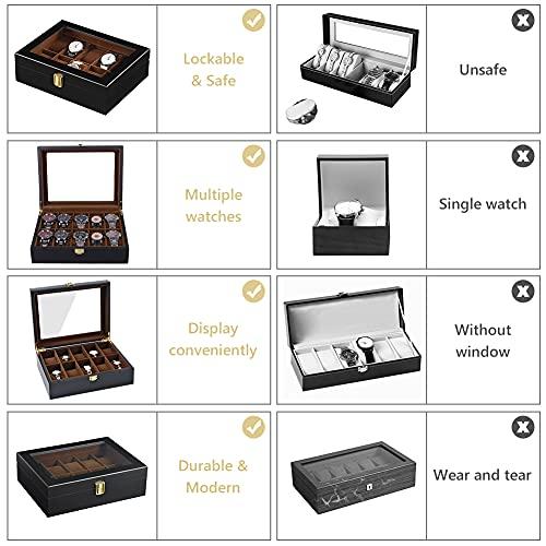 DoubleBlack Uhrenbox for 10 Uhren Uhrenkasten Holz - 4
