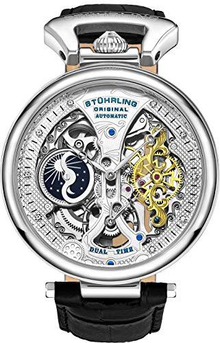 Stührling Original Herren Skelett Uhr Zifferblatt Automatik Uhr mit Kalbsleder