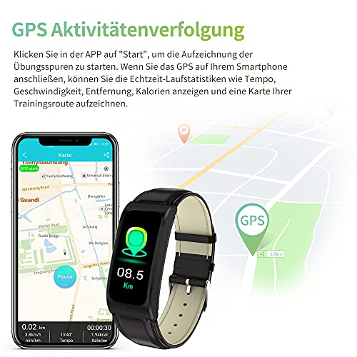 Fitnessuhr Fitness Armband Schrittzähler Pulsuhr Sportuhr Damen Herren Android Smartwatch IOS Tracker Pulsuhren Pulsmesser Watch Uhr mit Blutdruckmessung IP68 Wasserdicht - 5