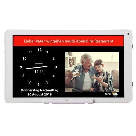 DayClocks Seniorenuhr10-Duo in Weiß ohne Rahmen inkl. Videoanrufe, (Sprach-) Nachrichten & Foto-Funktion Digitale Uhr, Kalender & Tablet für Senioren & Demenzkranke mit Erinnerungsfunktion